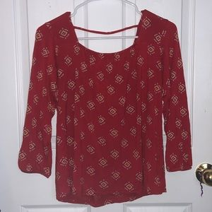 Old Navy red tribal print blouse